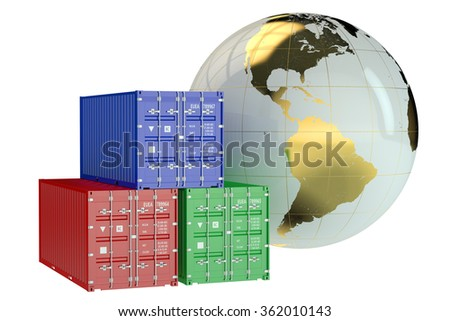 Global cargo shipping concept isolated on white background - stock photo