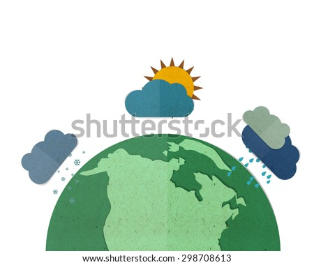 Global climate change, paper cut and paste. - stock photo