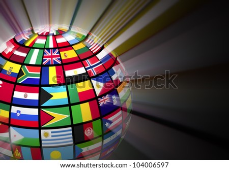 Global communication concept: glowing globe with world flags on black background - stock photo