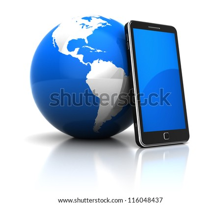 Global communication concept: mobile phone with blue planet - stock photo
