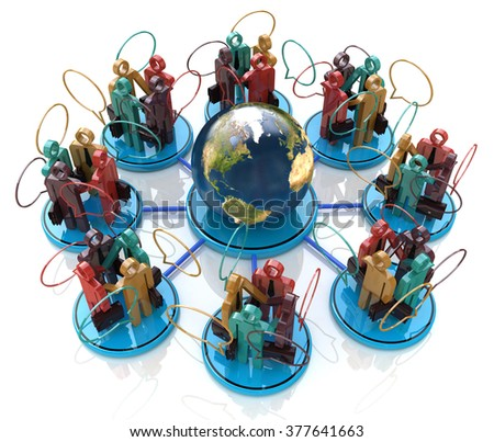 Global communication concept. Social Network in the design of the information related to the communication business people - stock photo