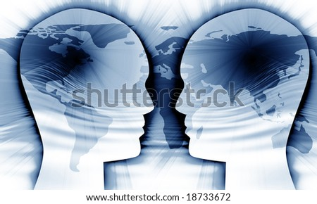Global communication on a soft blue background - stock photo