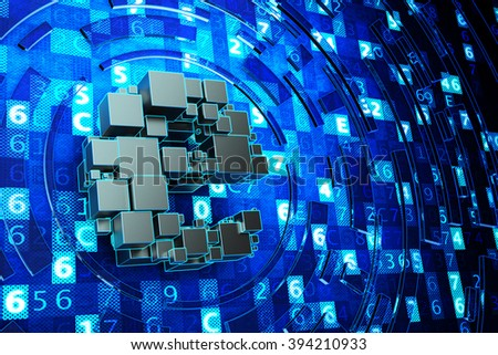 Global communication, online electronic symbol, internet and computer technology concept, letter E from boxes on abstract blue background with digital code - stock photo
