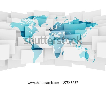 Global communication world map on 3d squares - stock photo