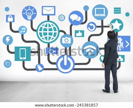 Global Communications Social Networking Business Planning Online Concept - stock photo