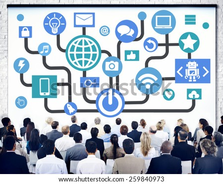 Global Communications Social Networking Business Seminar Online Concept - stock photo
