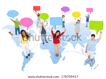 Global Communications with Diverse People - stock photo