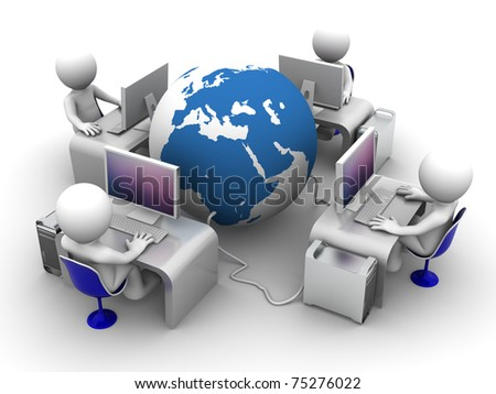 Global computer network. Conceptual image on white background - stock photo