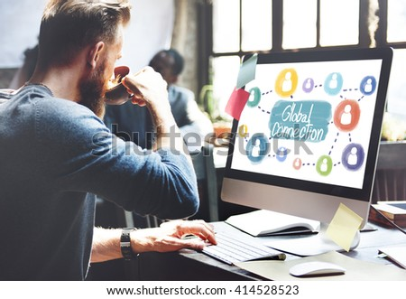 Global Connection Communication Interconnection Networking Concept - stock photo