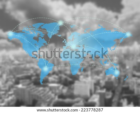global connection over City background ; Technology Concept - stock photo