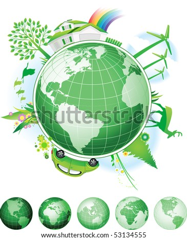 Global Conservation Concept. Raster version of vector illustration. - stock photo