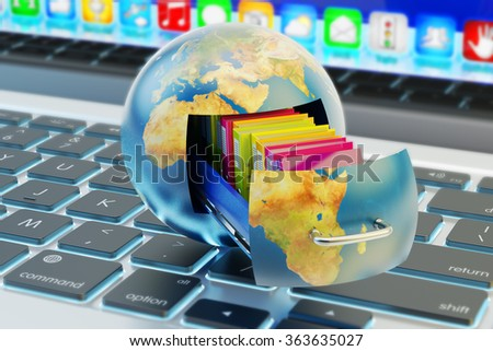 Global data storage, cloud computing service and network technology concept, Earth globe with drawer and folders inside it on computer laptop keyboard (Elements of this image furnished by NASA) - stock photo