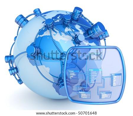 Global database. Hi-res digitally generated image. - stock photo