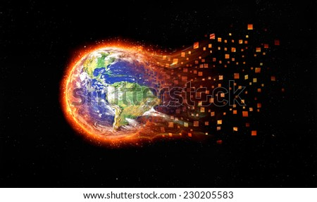 Global disaster. Earth burning after a global disaster. Elements Of This Image Furnished By Nasa. - stock photo