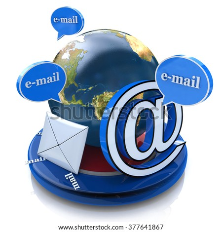 Global e-mail. Email concept, word email with envelope in the design of the information related to the Internet and messaging - stock photo