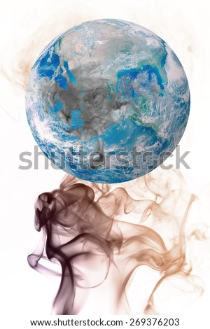 Global Earth image with smoke on Earth's day clean concept Elements of this image furnished by NASA - stock photo