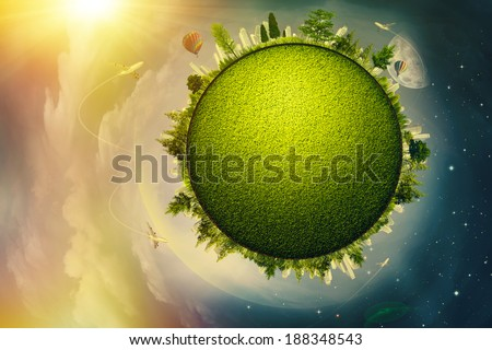 Global eco and transportation concept for your design - stock photo