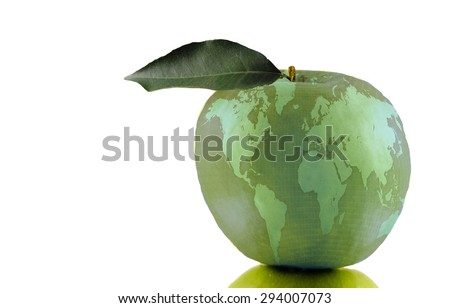 Global Education Apple -- An apple, symbolizing education, with a global map superimposed over it. - stock photo