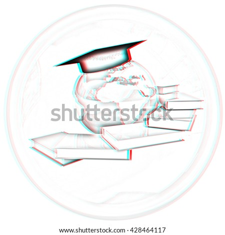 Global Education button on a white background. Pencil drawing. 3D illustration. Anaglyph. View with red/cyan glasses to see in 3D. - stock photo