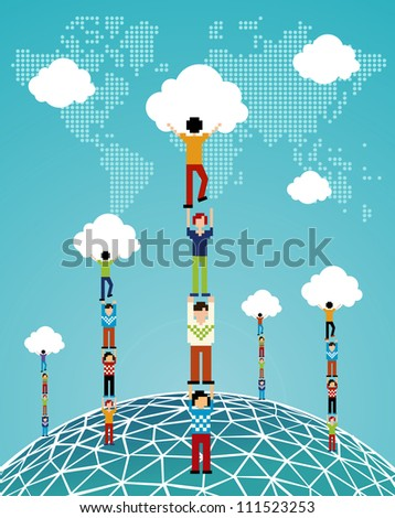 Global expansion of cloud computing concept illustration. - stock photo