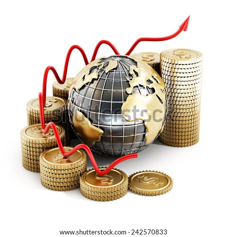 Global finance chart isolated on white background - stock photo