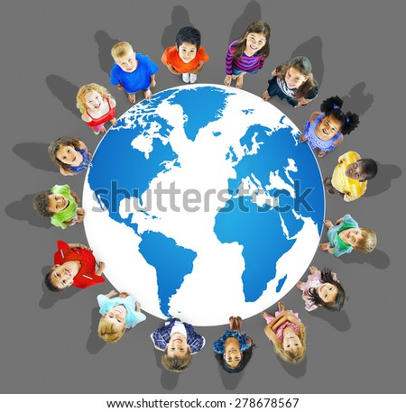 Global Globalization World Map Environmental Conservation Concept - stock photo