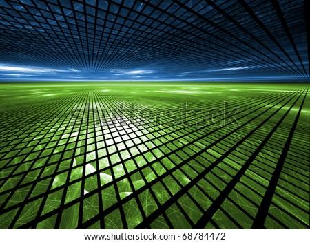 Global Grid - Fractal Landscape - stock photo