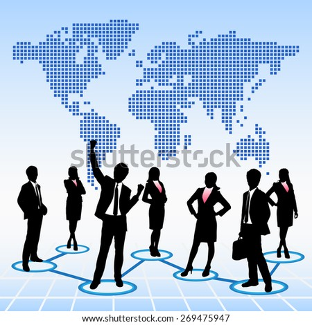 Global human resources concept business people work team with world map background - stock photo