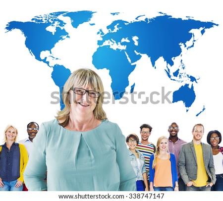 Global International World Community Unity Cartography Concept - stock photo