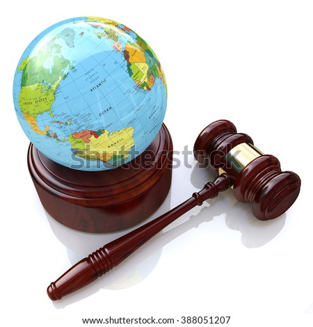 global justice law in the design of information related to law - stock photo