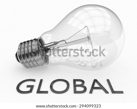 Global - lightbulb on white background with text under it. 3d render illustration. - stock photo