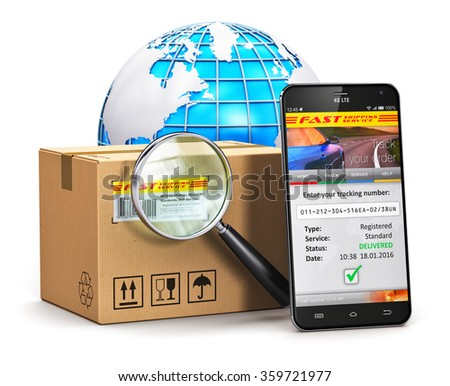 Global logistics, worldwide shipping, delivery and internet order parcel tracking technology business commercial concept: smartphone, cardboard box with magnifier and Earth globe isolated on white - stock photo