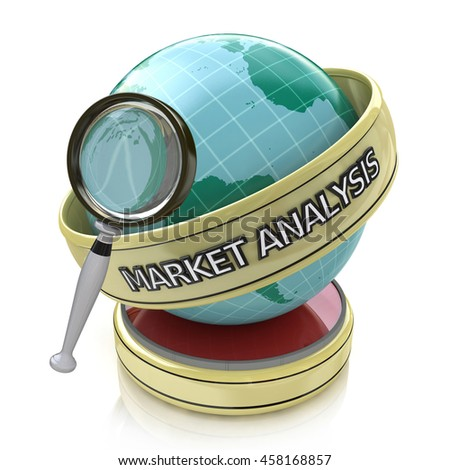 Global market analysis: Market trends in the design of information related to business. 3d illustration - stock photo