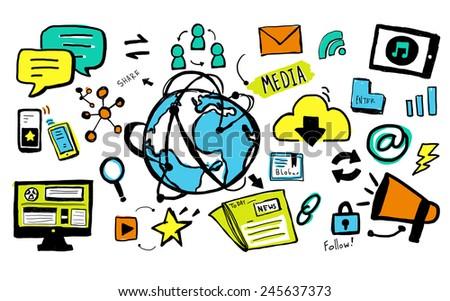Global Media Technology Network Worldwide Concept - stock photo