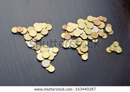 Global money map. World map made of money coins - stock photo