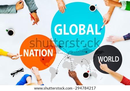 Global Nation World International Variation Unity Concept - stock photo