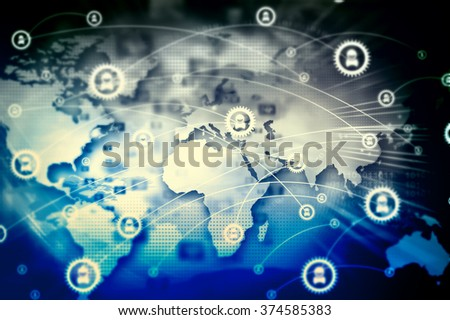 Global network connection - stock photo