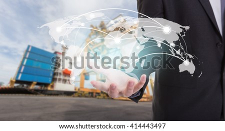 Global network coverage world map on hand of businessman ,Industrial Container Cargo freight ship at habor for Logistic Import Export background (Elements of this image furnished by NASA) - stock photo