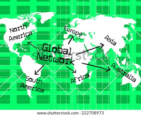Global Network Indicating Computer Digital And Globally - stock photo