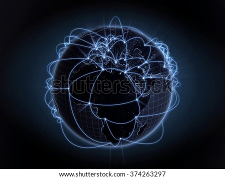 Global network, internet concept. View of Europe and Africa. Blue version. - stock photo