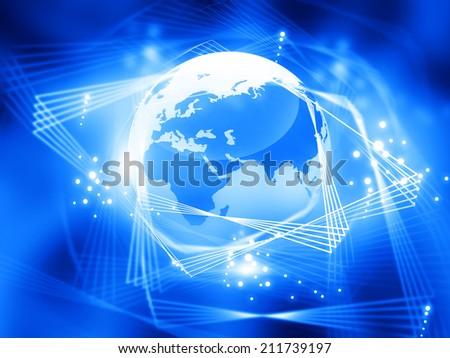 Global network  with  fiber optics - stock photo