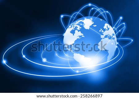 Global networking on beautiful abstract background  - stock photo