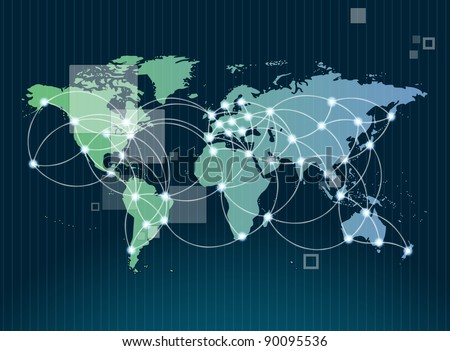 Global networking symbol of international communication featuring a world map concept with connecting technology communities using computers and other digital devices - stock photo
