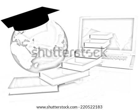 Global On line Education on a white background. Pencil drawing  - stock photo