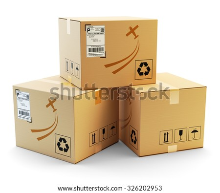 Global packages delivery and parcels transportation concept, stack of cardboard boxes isolated on white background - stock photo