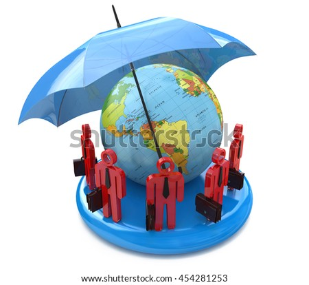 Global protection business team in the design of information related to business. 3d illustration - stock photo