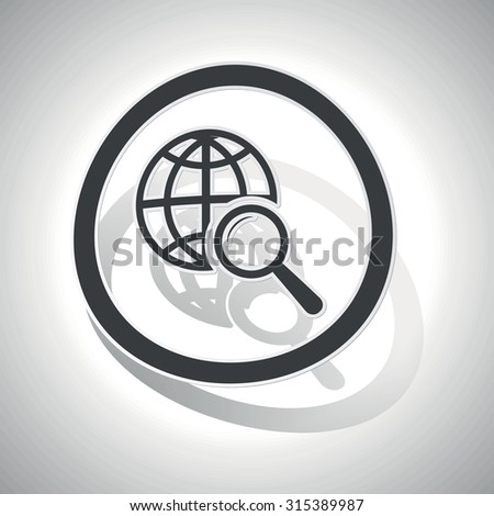 Global search sign sticker, curved, with outlining and shadow - stock photo