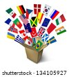Global shipping and freight services and worldwide delivery transport with an open cardboard cargo box and flags from around the world flying out on a white background. - stock photo