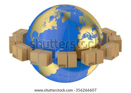 Global shipping concept isolated on white background - stock photo