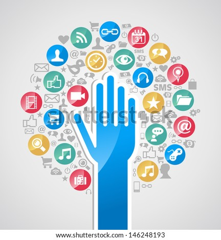 Global social media network concept hand tree icons set. - stock photo